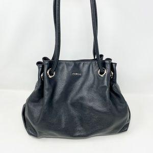 Furla Black Leather Bucket Bag Shoulder Bag